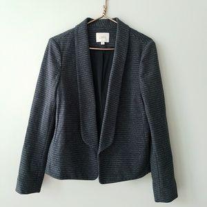 Loft | Draped Front Black Stripe Career Blazer